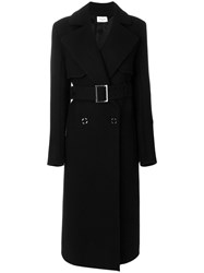 Thierry Mugler Button Up Belted Trench Coat Silk Cupro Wool Black