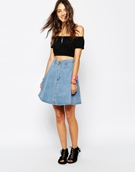 Your Eyes Lie Denim Skater Skirt Blue