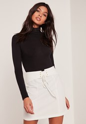 Missguided White Belted Eyelet Detail Mini Skirt Cream