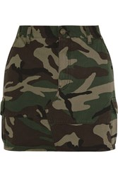 Saint Laurent Camouflage Print Denim Mini Skirt