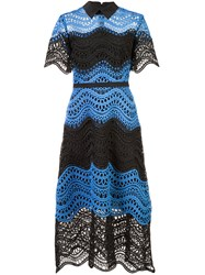 Lela Rose Embroidered Flared Dress Silk Polyester Black