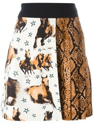 Fausto Puglisi Horse And Snake Print Skirt Black