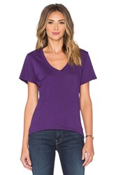 Bobi Light Weight Jersey Pocket V Neck Tee Purple