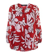Marina Rinaldi Floral Cotton Shirt Red