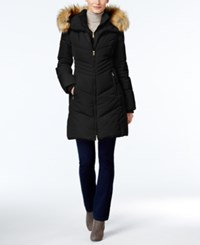Jones New York Faux Fur Trim Hooded Down Puffer Coat Black