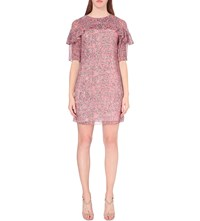 Reiss Roxanne Printed Chiffon Dress Coral Black