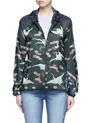 Pierre Louis Mascia Mixed Crane Print Hooded Windbreaker Jacket Multi Colour