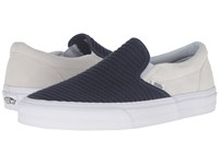 Vans Classic Slip On Suede Woven Navy Blue True White Skate Shoes Black