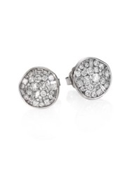 Plev Ice Diamond And 18K White Gold Pebble Button Earrings
