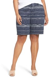 Sejour Plus Size Women's Bermuda Shorts Navy White Print