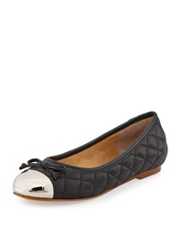Andrew Stevens Lalo Quilted Metallic Cap Toe Ballet Flat Black