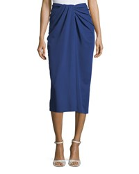 Rosetta Getty Twist Front Jersey Midi Skirt Blue