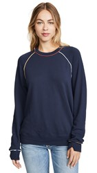 The Great Great. College Sweatshirt With Multi Piping Navy
