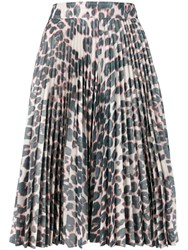 Calvin Klein 205W39nyc Pleated Leopard Skirt Grey