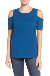 Pleione Women's Cold Shoulder Short Sleeve Tee Teal