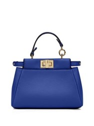 Fendi Peekaboo Micro Leather Satchel Lime Royal Blue