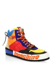 Moschino Multi Colored Leather High Top Sneakers Multicolor