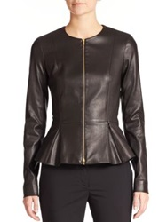 The Row Anasta Leather Peplum Jacket Black