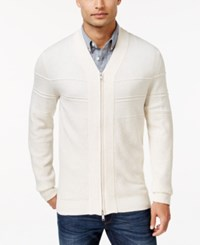 Alfani Full Zip Shawl Collar Cardigan Sweater Heather Vanilla