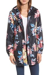 Joules 'S Right As Rain Packable Print Hooded Raincoat Navy White Stable Floral