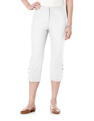 Rafaella Plus Curvy Fit Faux Snap Capri Pants White