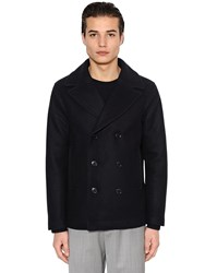 Emporio Armani Wool Cloth Peacoat W Quilted Lining