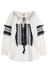 Figue Tasmeen Embroidered Cotton Tunic White