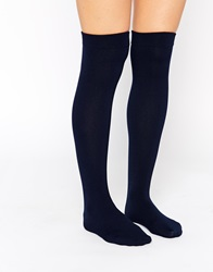 Plush Fleece Lined Knee High Socks Navy