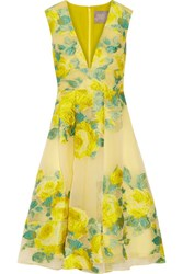 Lela Rose Pleated Floral Fil Coupe Organza Dress Bright Yellow