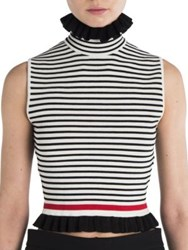 Msgm Ruffled Striped Tee Black White