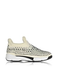 Pinko Gem Turbine Off White Neoprene W Gray Strass Sneaker