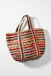 Anthropologie Fiesta Woven Tote Bag Neutral