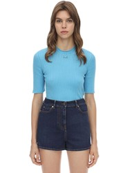 Courreges Cotton Blend Ribbed Sweater Blue