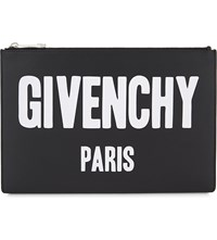 Givenchy Logo Leather Pouch Black White