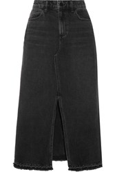 Alexander Wang Distressed Denim Midi Skirt Charcoal