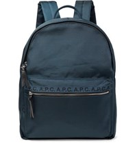 A.P.C. Logo And Leather Trimmed Ripstop Backpack Navy