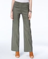 Inc International Concepts Linen Blend Wide Leg Pants Only At Macy's Olive Drab