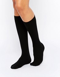 Pretty Polly 200D Fleecy Opaque Knee Highs Black