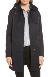 Gallery Women's A Line Swing Raincoat With Detachable Hood And Liner Navy