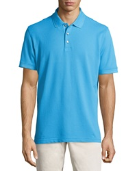 Robert Graham Numero Knit 3 Button Polo Shirt Turquoise