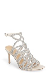 Imagine By Vince Camuto Women's Plash Glitter Cage Sandal Silver Ivory Satin