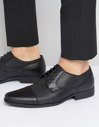 Asos Derby Shoes In Black Faux Leather With Texture Emboss Black