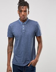 Selected Slim Fit Slub Jersey Polo Shirt With Overdye Navy