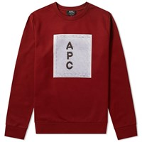 A.P.C. Logo Printed Sweat Burgundy