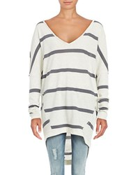 Free People Upstate Striped Long Sleeve Dolman Tee Neutral