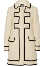 Boutique Moschino Woven Wool Coat Cream