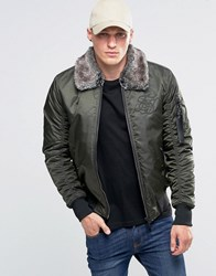 Sik Silk Siksilk Bomber Jacket With Faux Fur Collar Khaki Green