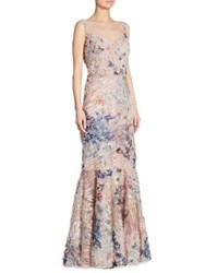 Rickie Freeman For Teri Jon Sleeveless 3 D Floral Lace Gown Multi