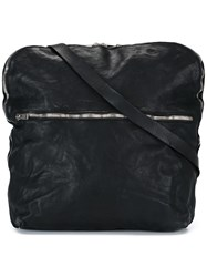 Guidi Top Zip Messenger Bag Black