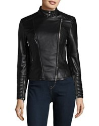 Vince Camuto Asymmetrical Zip Moto Leather Jacket Black
